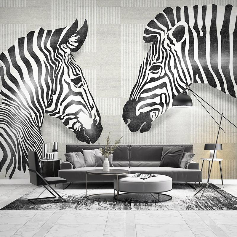 Custom 3D Wallpaper Wall Painting Nordic Modern Black And White Striped Hand Painted Zebra Photo Mural Wallpaper For Living Room