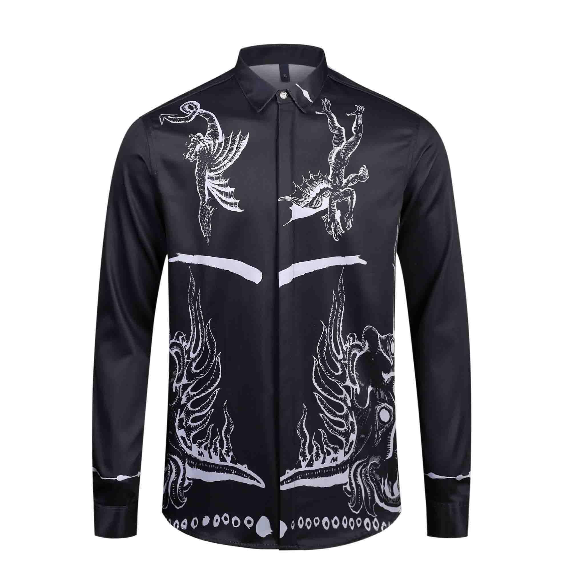 2020 sıcak yeni lüks renk çiçek uzun kollu erkek spor iş gömlek elbise İnce pamuklu gömlek erkek Medusa gömlek ZZR