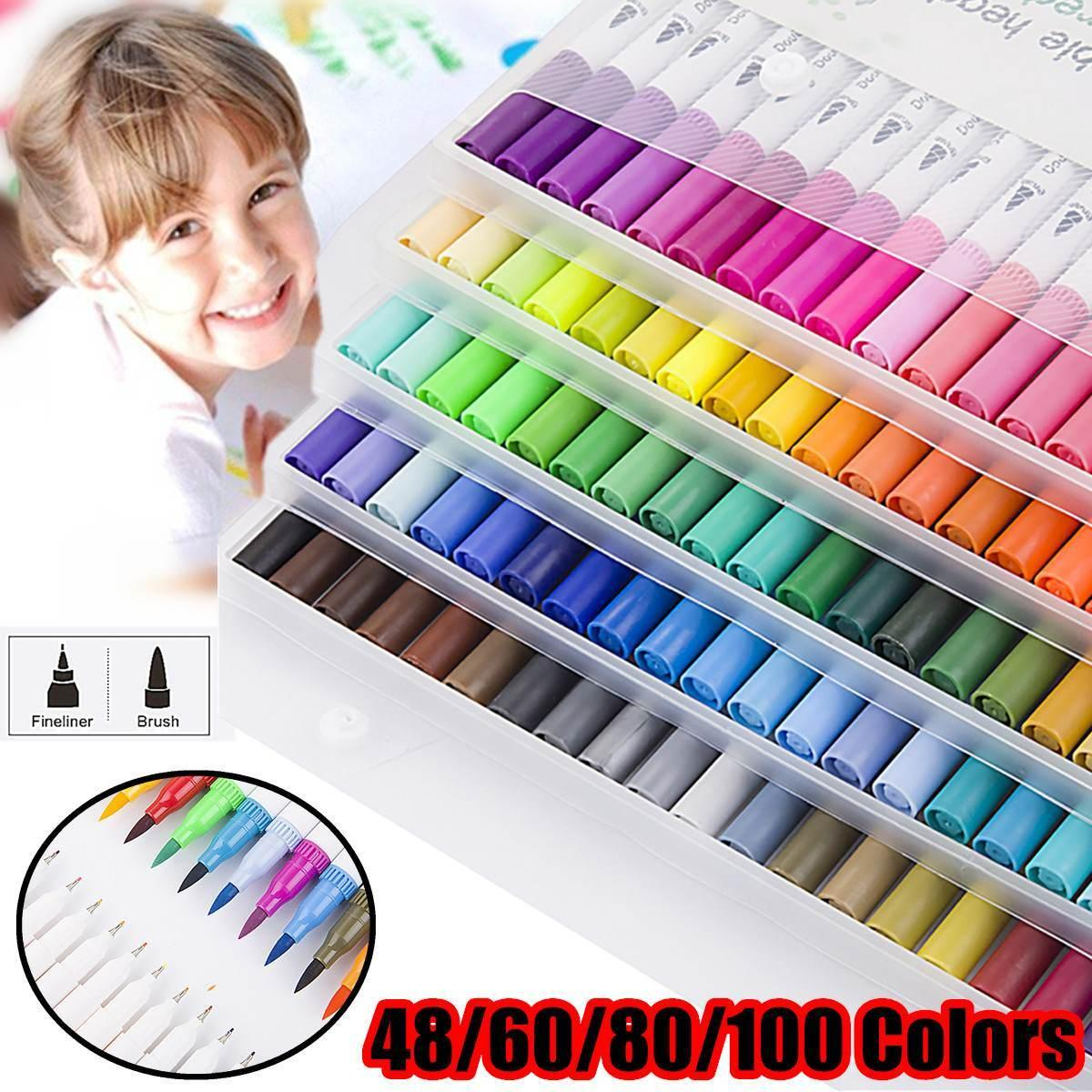 100 Colors Dual Tip Brush Color Pen Art Markers Pen TouchFive Copic Markers Pen Watercolor Fineliner Drawing Painting Stationery Y200709