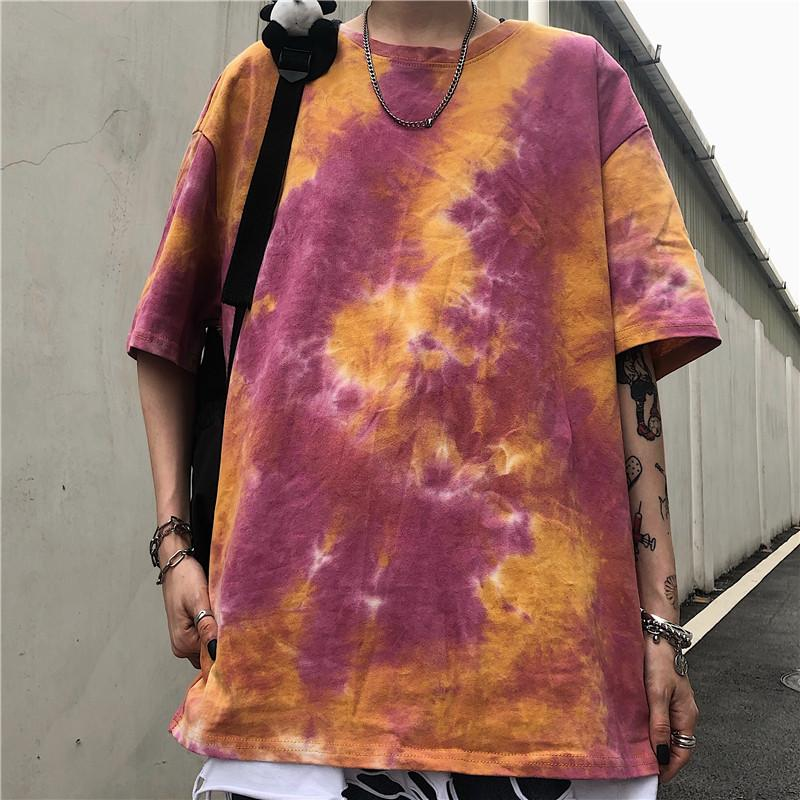 Summer Korean Style Ins Harajuku Style Street Retro Color Tie-Dyed Loose All-match round Neck Short-Sleeved T-shirt Tops for Men and Women