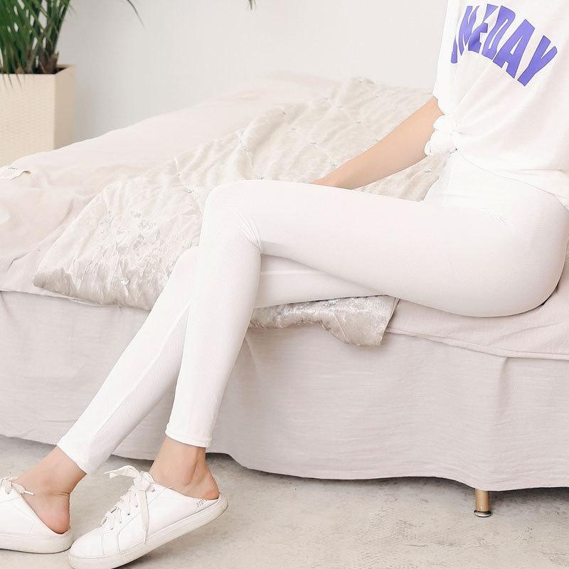 2HKg5 Sommer dünn abnehmen Seide Netzsonnenschutz Gamaschen Frauen hohe Verschleiß großer äußerte elastisches Eis Knöchel fest Mantel enger Hosen Hosen