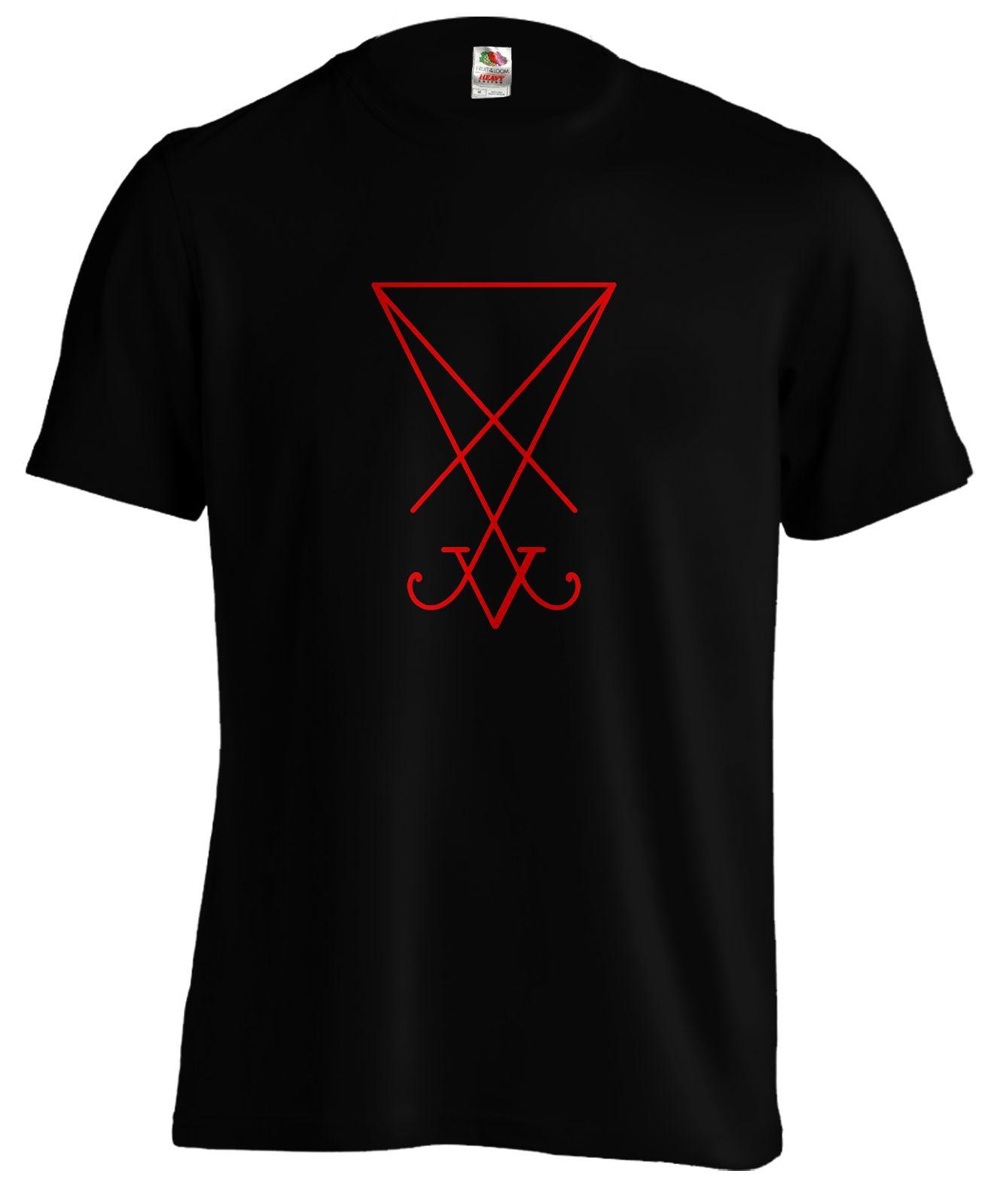 Lucifer Sigil Satan Occulte Horreur Sorcière Goth T-shirt T Cartoon hommes de T-shirt unisexe Nouveau mode tshirt Livraison gratuite drôle