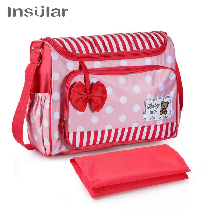 Insular Multifunctional Baby Stroller Bag Nylon Waterproof Diaper Bags Fashion Printed Maternity Bag Larger Capacity Nappy Bags