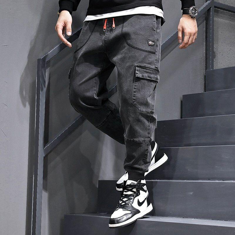 Calças Moda Streetwear Jeans Grey Black solto Fit emendado Denim Carga Harem Calças de qualidade Top Hip Hop Jeans Homens Joggers