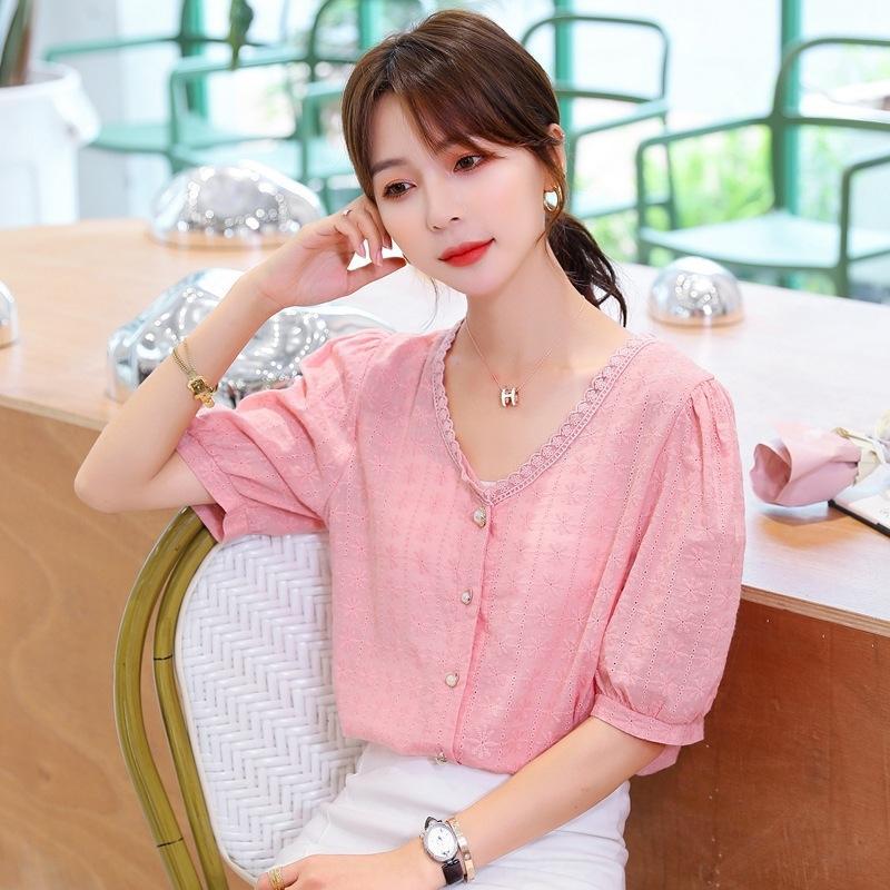 Elegante fivela de flor de pérola bordado V-neck artístico moderno curto pérola fivela camisa Top manga da camisa camisa top verão das mulheres