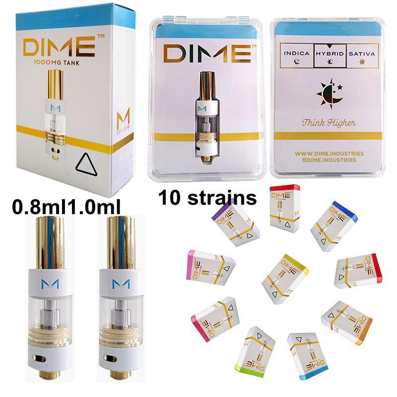 DIME Vape Cartridge Packaging Glass Thick Oil Vape Cartridges 0.8ml 1ml Ceramic Vape Carts E Cigarette Atomizers For 510 Thread Battery