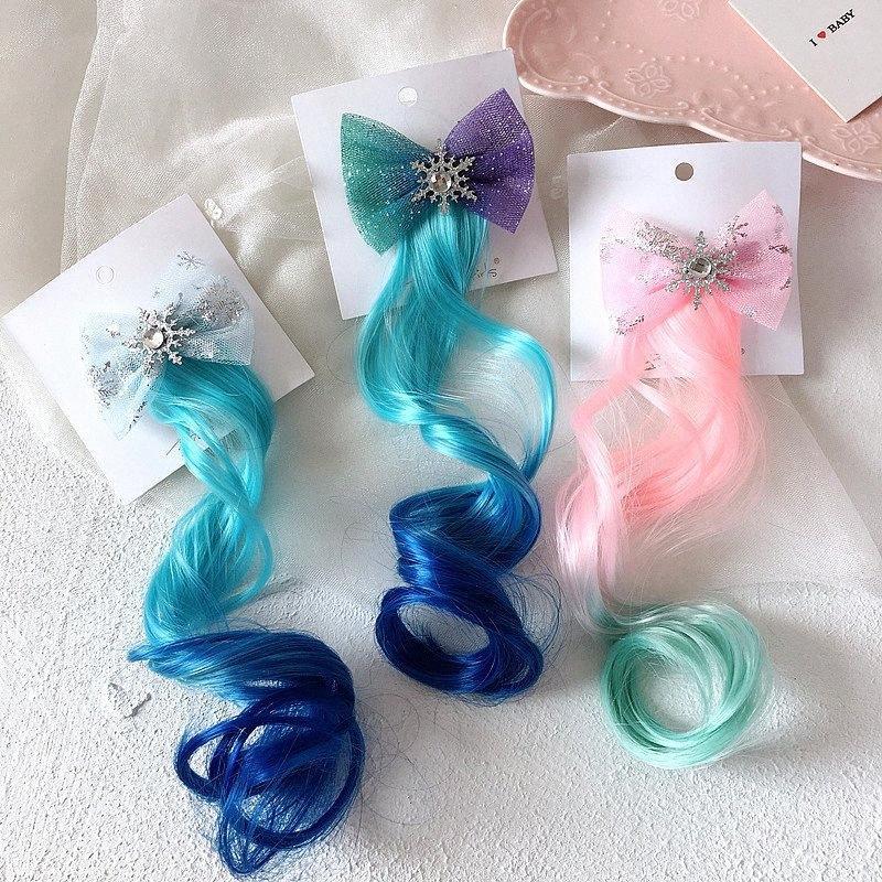 Nieve nueva princesa Girls coloridas pelucas Bandas Cola de caballo ornamento del pelo pelo de las vendas sombreros y gorros para niños niñas accesorios para el cabello accesorios para 4YCo #