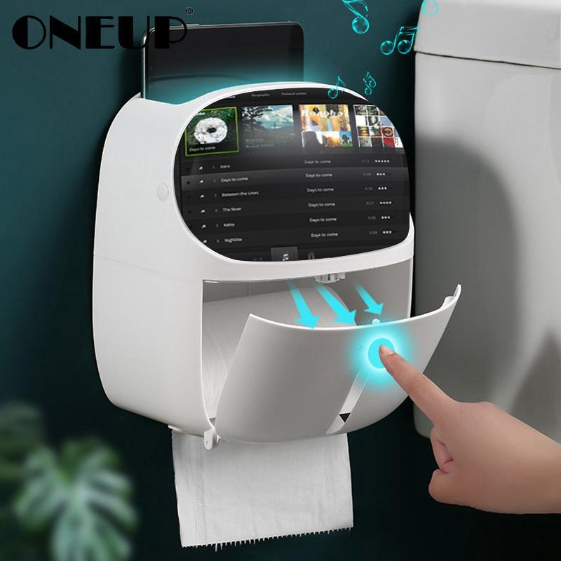 المحمولة ONEUP ورق التواليت حامل للمرحاض صندوق تخزين بلاستيكية صينية التلقائي لفة ورق الصيدلي الرئيسية اكسسوارات الحمام T200425