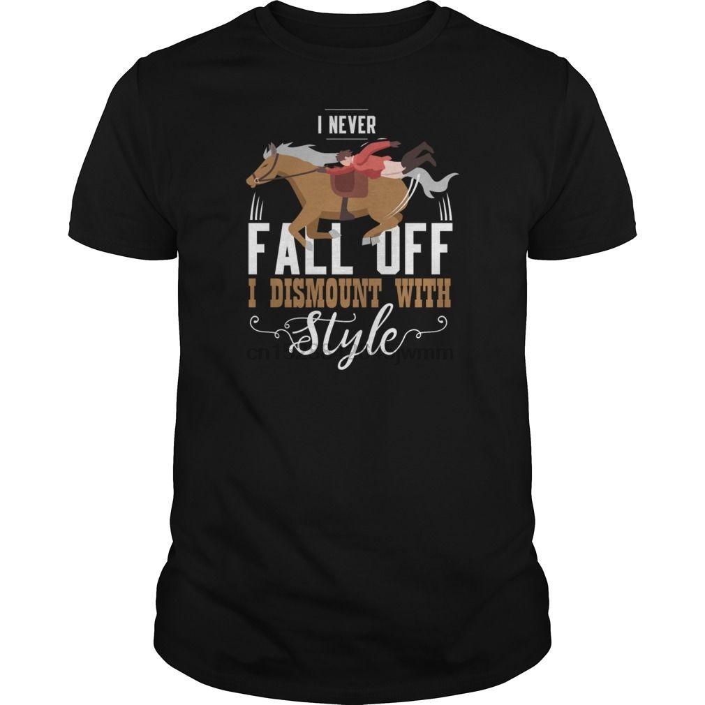 T-shirt da Uomo Tshirt I Never cadere ho Dismount con stile Cavallo shirt Tees Top Raffreddare Stampato