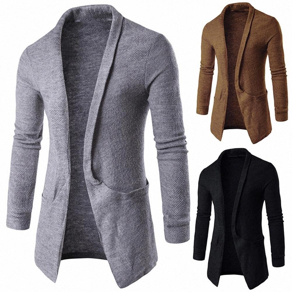 Moda Uomo solido casuale di colore risvolto maniche lunghe cardigan Outwear Fashion k7LP #