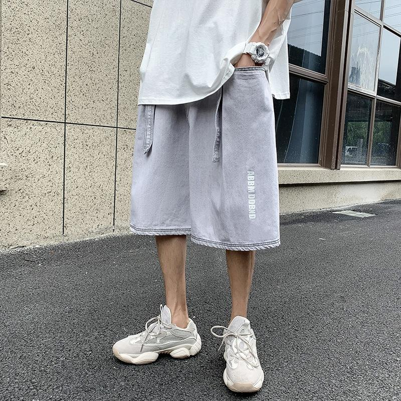 Sommer Ulzzang gewaschen Fünf-Punkte-Denim Herren-koreanischen Stil geraden Rohr Jugend loses breites Bein und Shorts Shorts