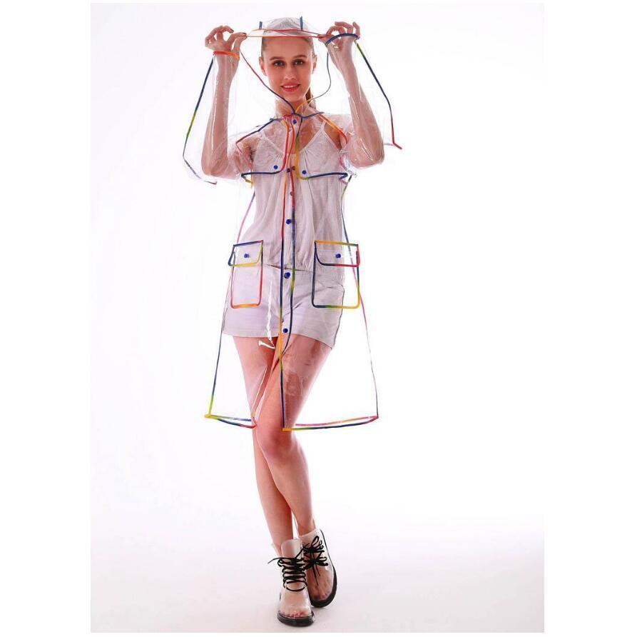 transparent eva Mädchen lange Frauen Regenmantel Art und Weise Damen Kunststoff mit Kapuze im Freien Tour Regenkleidung Okologisches EVA