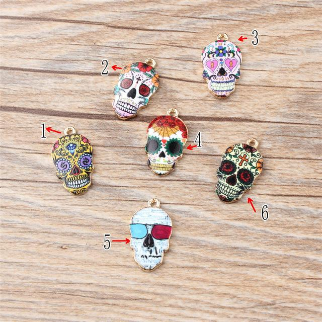 ashion Jewelry Charms 10PCS/Lot High Quality Fashion Enamels Charms Gift Colorful Skull Alloy Pendant Bracelet Necklace Jewelry Accessori...