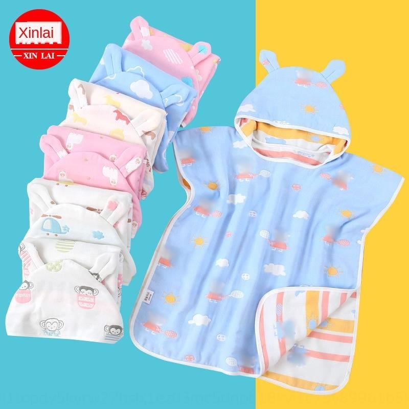 Pure Cotton Hoodie bathrobe 40-Strand six-layer gauze hoodie cloak baby children gauze bathrobe children cloak