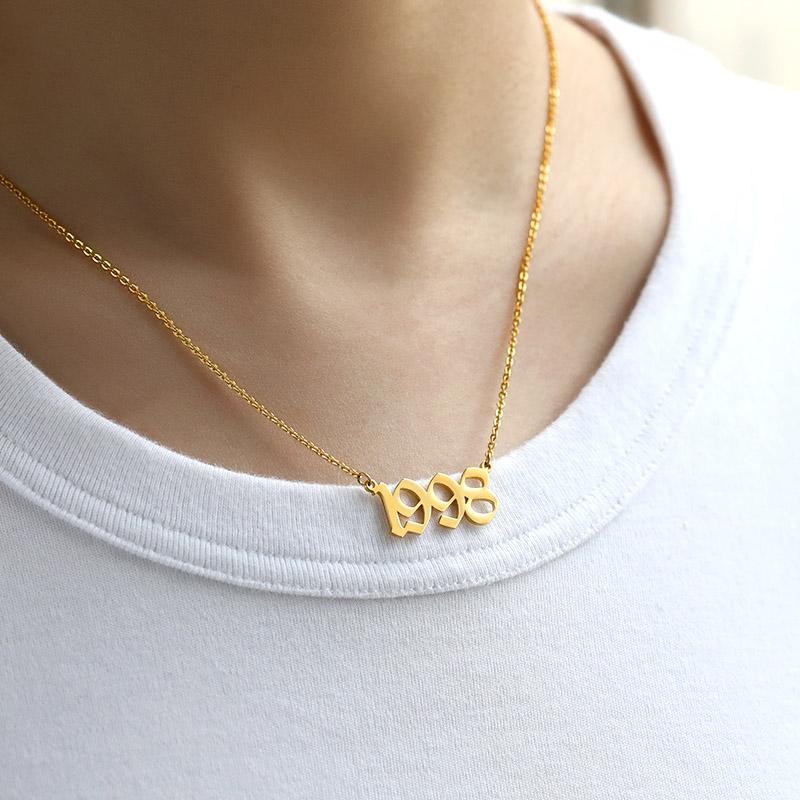 Geburtsjahr Ketten für Frauen Goldkette Jahrestag Halskette Schmuck 1993 1994 1995 1996 1997 1998 Geburtstag Hochzeit Datums-Geschenk