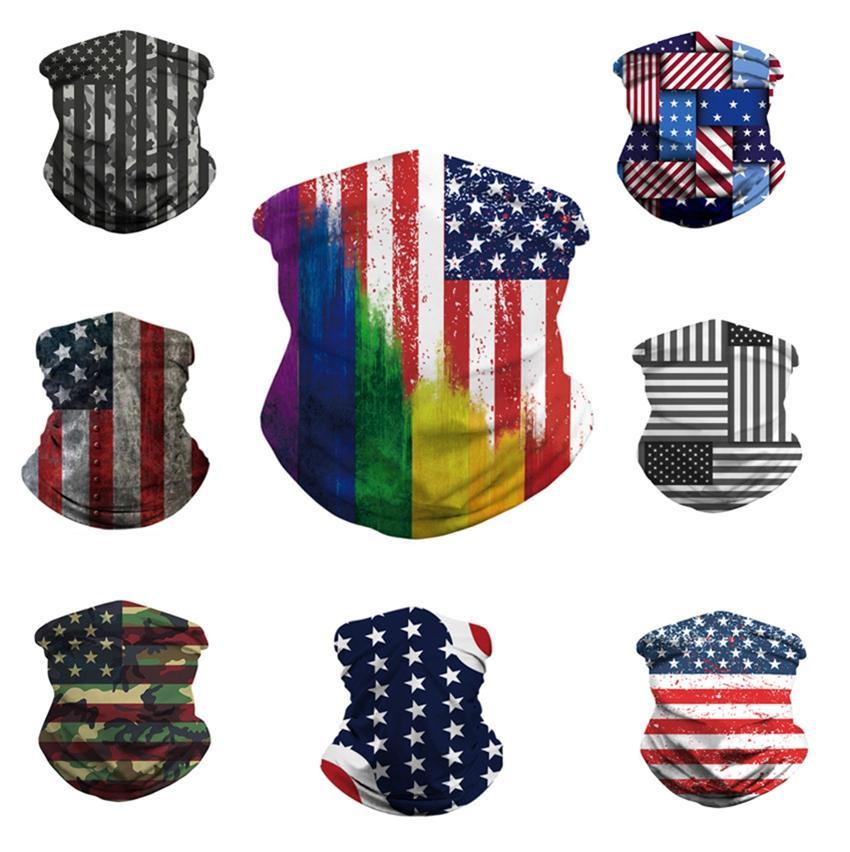 8 stili maschera di protezione 3D USA Flag Magia Sciarpe sport esterni fascia Turbante Foulard Bandana in bicicletta maschere Designer CYZ2551