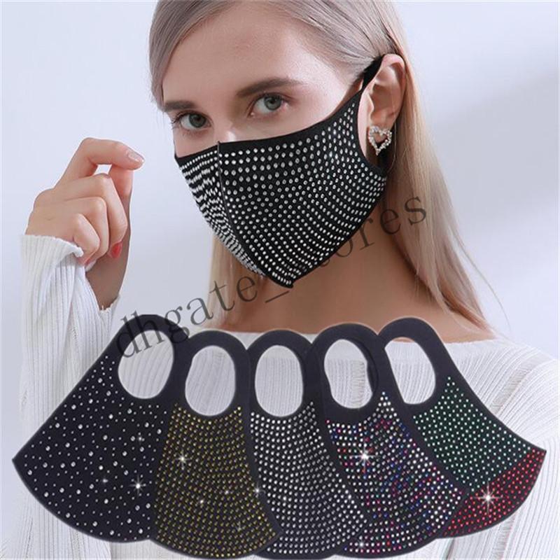 Maschera di cristallo del viso copertura del diamante signore Bling colorata gemma gioiello ornato mezzo del fronte donne bocca antipolvere Ciclismo Sport LY717