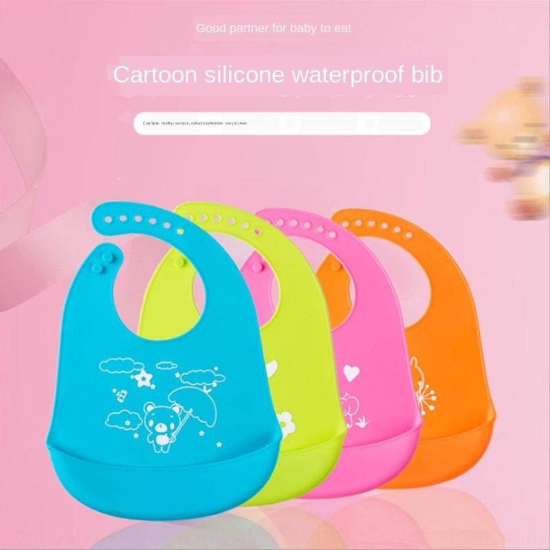 bolso boca animal cartoon impressa cor sólida bebê de silicone infantil impermeável bib do bebê Sílica gel de sílica gel bib