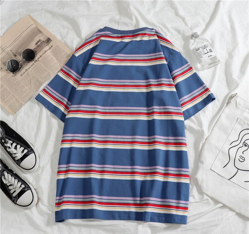 2020 Fashion striped man T-shirt summer Short sleeve hip hop blue white clothes loose Brief Korea style funny Oversized top