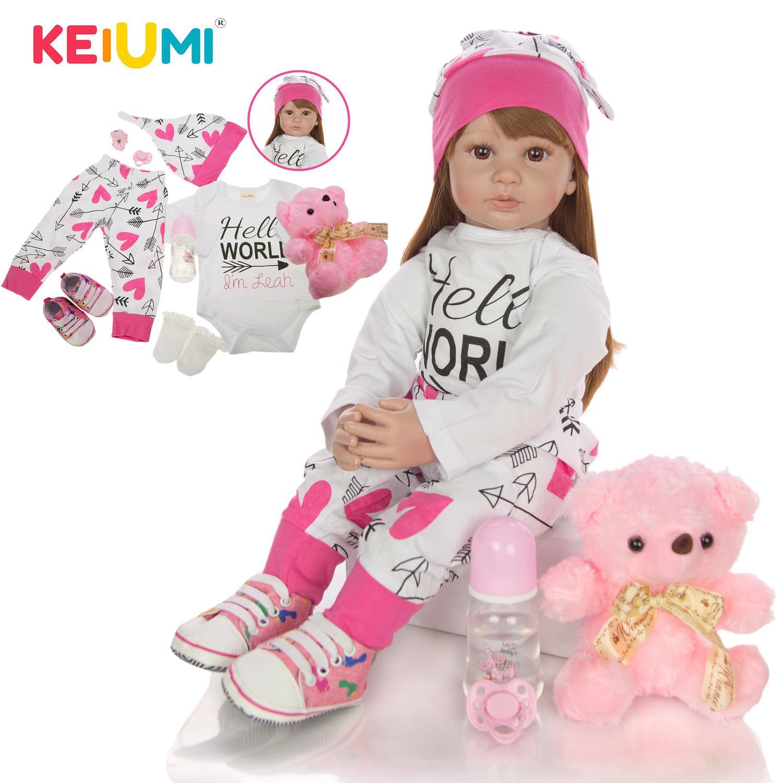 60 см Новорожденный Девушка Реалистичные куклы младенца ткани тела Фаршированная Мода Reborn Boneca игрушка для малышей День рождения Подарки Bedtime Playmate T200712