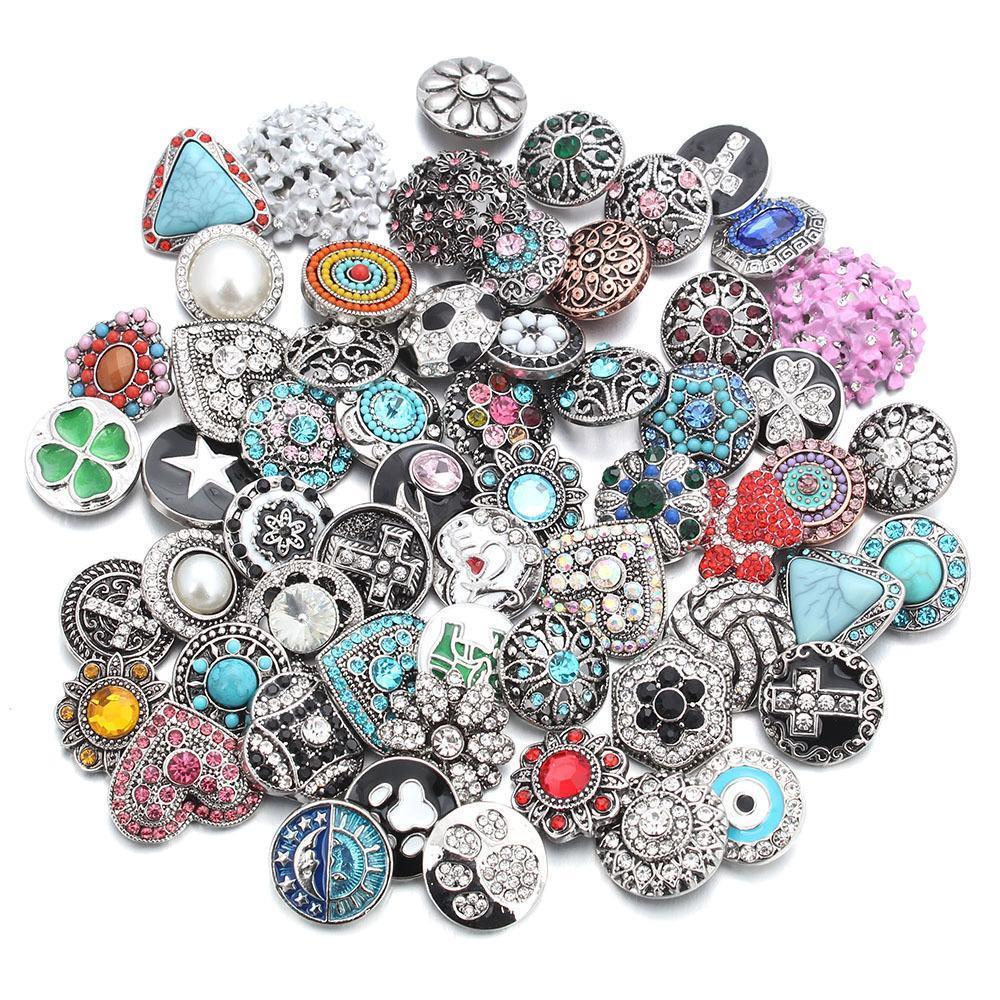 50pcs sacco stile misto 18 millimetri di metallo Snap Buttons Jewelry 50 disegni Ginger cristallo a scatto 18 millimetri Snap collana braccialetto dei braccialetti