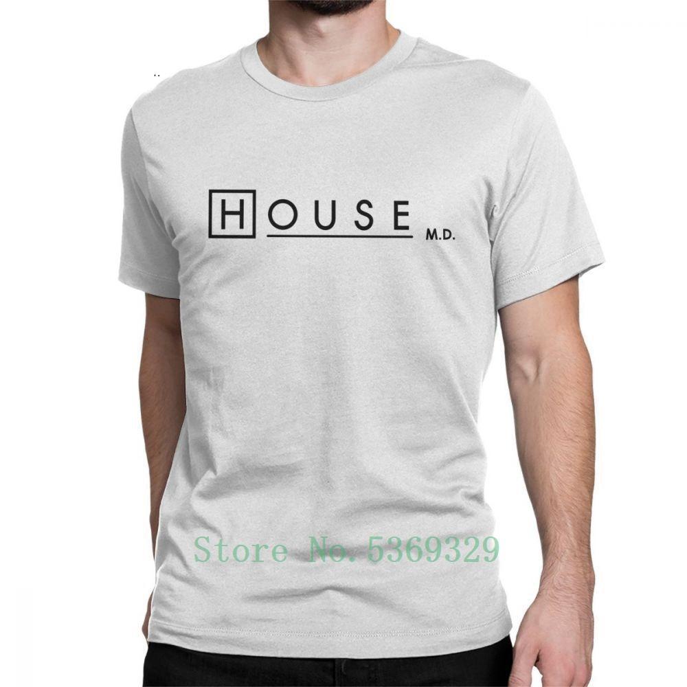 Erkekler Dr Evi Logo Beyaz İçin House Md T Gömlek Kısa Kollu T-Shirt Casual Saf Tees Yuvarlak Yaka komik tişört erkek tee gömlek Tops