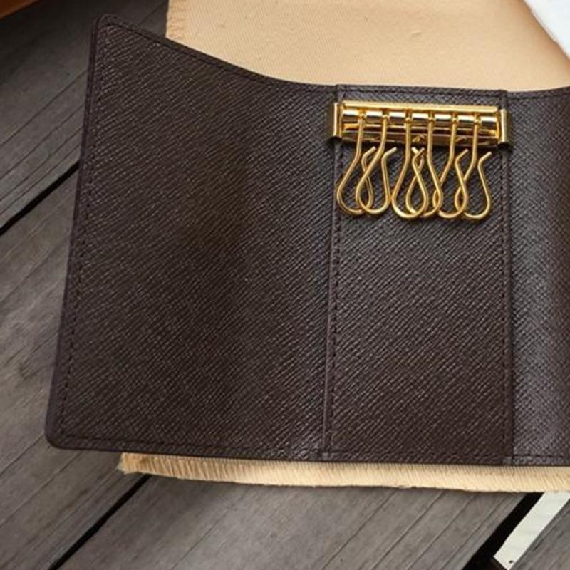 mens chaveiro bolsa mulheres carteira cartão de bolsas titular couro moda clássicas 6 homens tampa do porta-chave Keychain com anel chave de cartão bolsa ZC8D