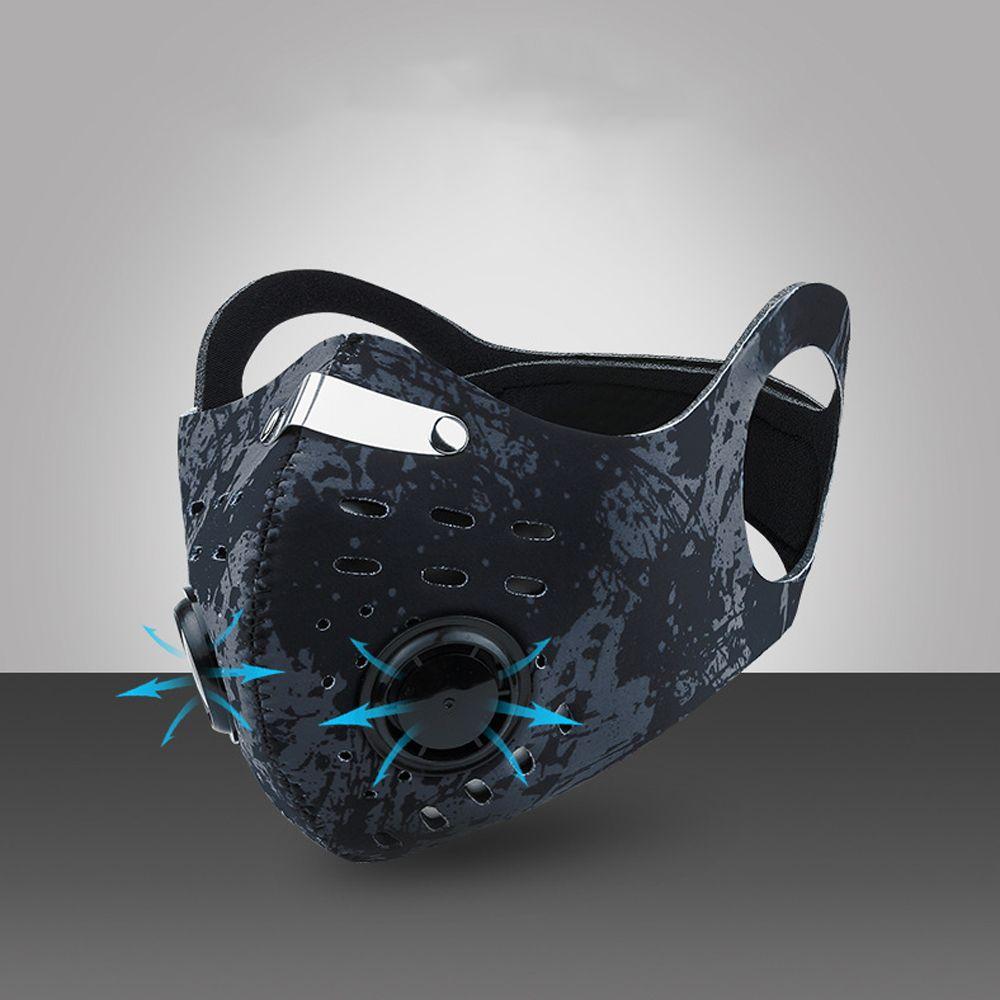 Carbon PM 2.5 Cyclisme visage Masques Masques extérieur coupe-vent anti-poussière remplaçable Activé Filtre à charbon Masque Masque en gros avec Valve