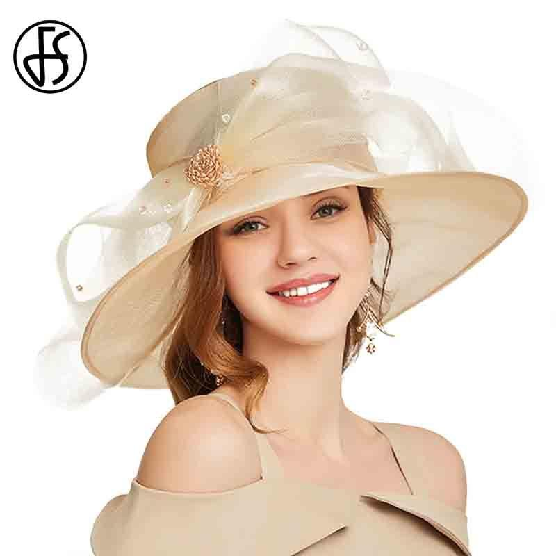 FS Beige White Organza Wide Brim Sun Hats For Women Summer Church Hats Women Elegant Kentucky Derby Hat Ladies Big Bow Fedora CX200715