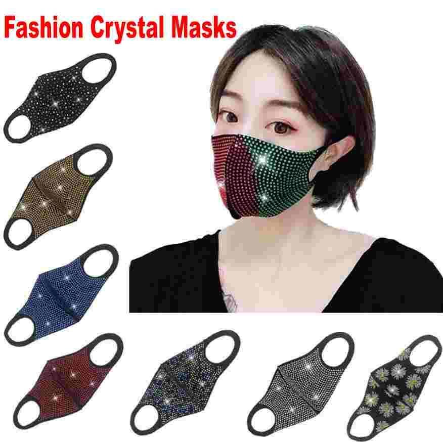 Moda Pırıltılı Bling Rhinestones Tasarımcı Yüz Ağız Kapak Koruyucu PM2.5 toz geçirmez Yıkanabilir Tekrar Maskesi Elastik kulak askısı FY0028 Maskesi