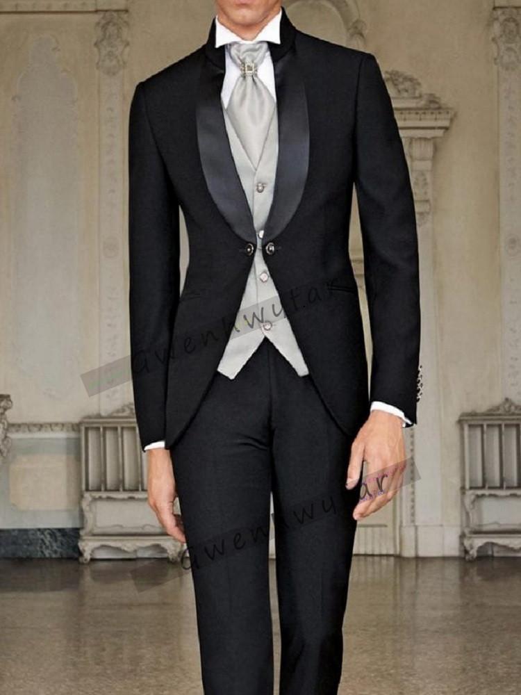 Bridalaffair New Arrival men tailcoat wedding suits for men groomsmen suits 3 pieces groom wedding suits peaked lapel