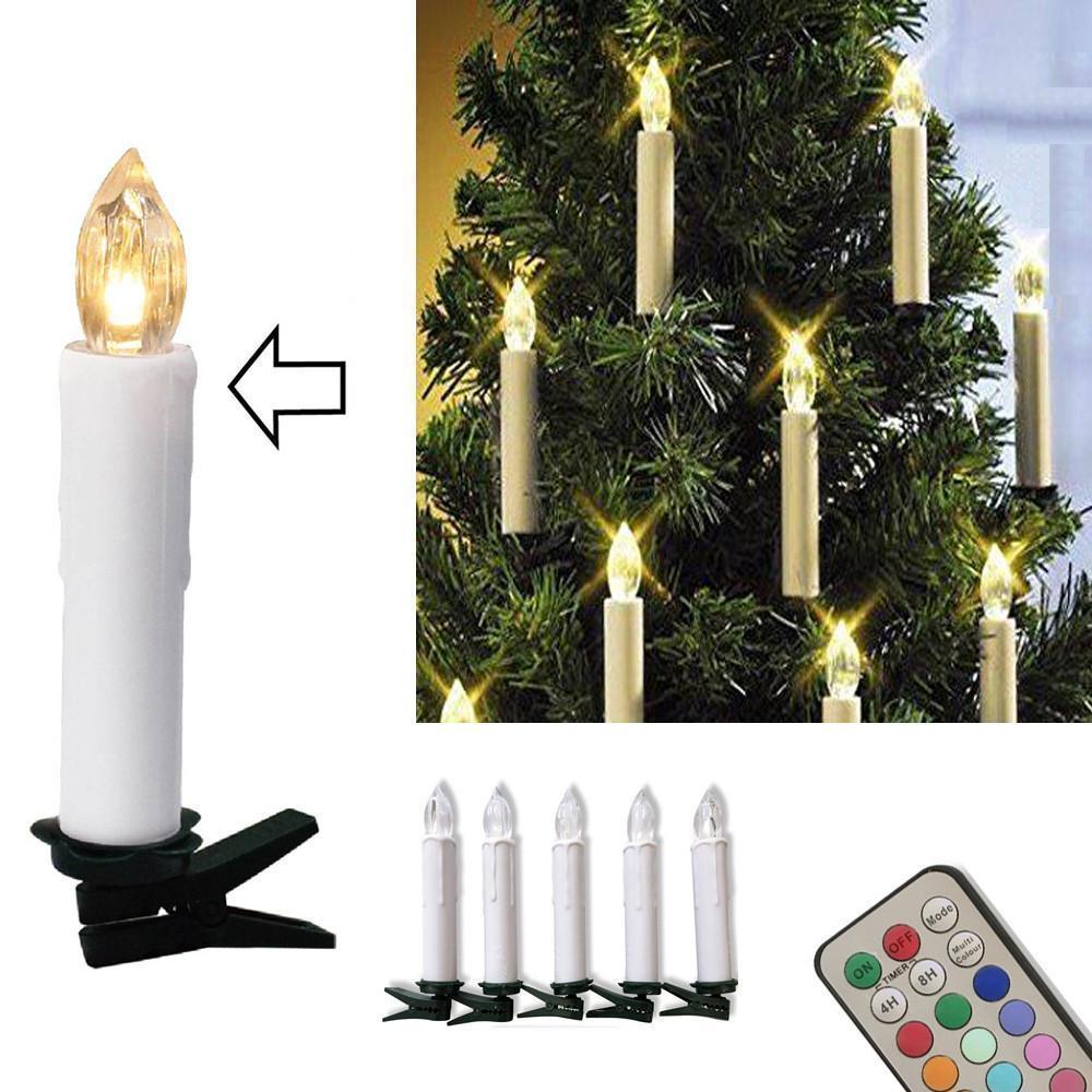 10pcs LED batterie Bougies Télécommande sans fil 12 couleurs Operated Lumière pour Hallowmas Arbre de Noël Lumière Décoration de soirée de mariage