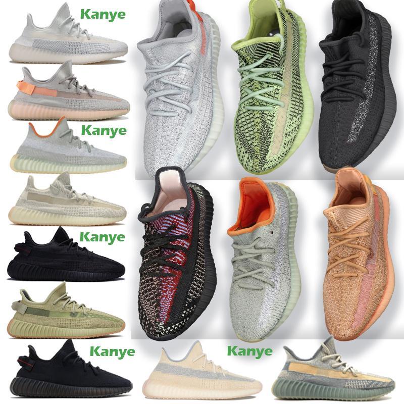 Kanye West Antlia Israfil para mujer para hombre Negro Glow arcilla estrella cebra Cinder Desert Sage tierra de reflexión entrenador zapatos corrientes de las zapatillas de deporte Tamaño 13
