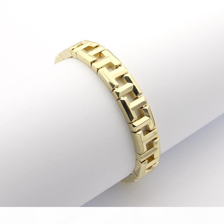 Las pulseras de acero de titanio de oro rosa plateado Pareja acero inoxidable 316L para mujer brazalete T Carta pulsera 18cm