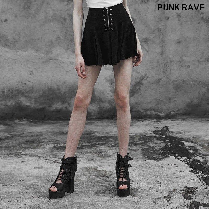 Punk Perçinler Soğuk fermuar dekorasyon Streetwear Yarım Etek Moda Kadınlar Siyah Çok parçalı şifon seksi Etekler PUNK RAVE PQ-396