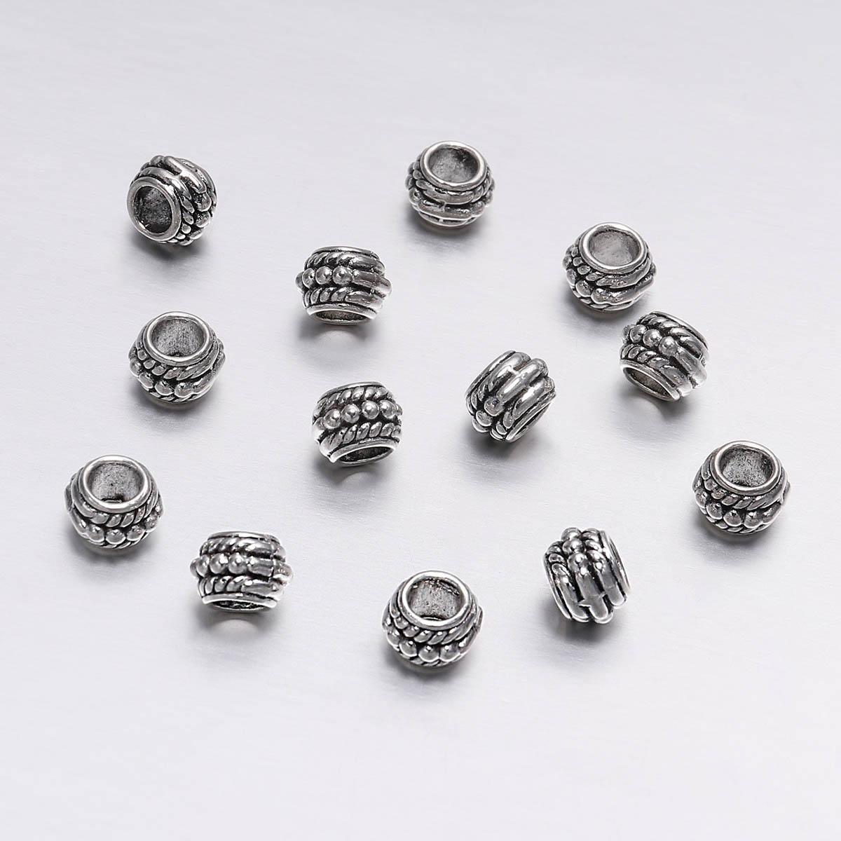 200pcs / lot 8mm Antike silberne lose Spacer-Korn für Schmucksachen, die Weinlese-Armband-Korn-Entdeckungen Handgemachte Supplies