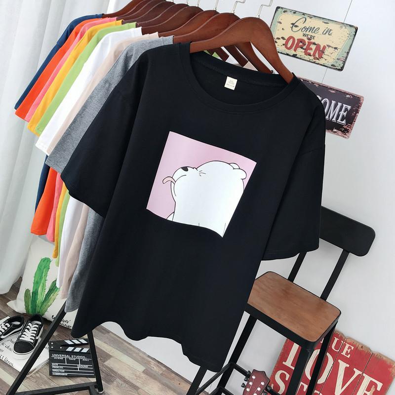 Shellsuning verano mujeres de la camiseta de dibujos animados Imprimir femenino de la talla de ropa CX200710 Tees de gran tamaño de Kawaii de Harajuku cuello redondo corto mangas Plus