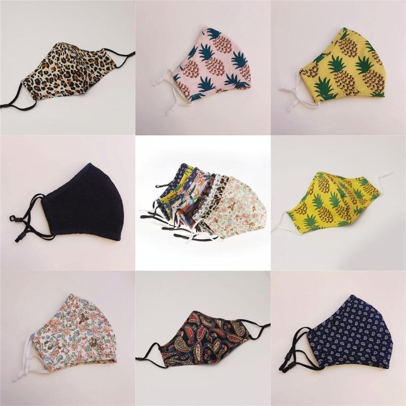 Máscaras de leopardo Boca Cara flores de la piña Spots Mascarilla algodón Earloop Mascherine Moda respirable reutilizable niños de los niños 5 9HH C2