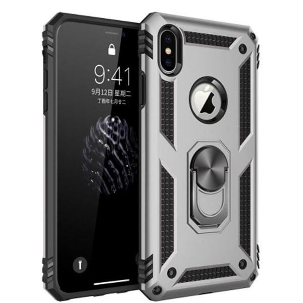 iphone için Darbeye Zırh Kılıf iPhone X 7 8 6s Manyetik Metal Halka Tutucu Standı Telefon Kapak Coque ve samsung A20 A50 S20u