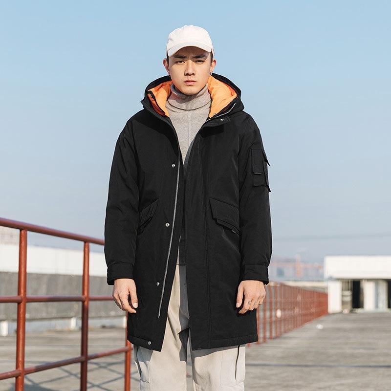 xdmX7 2020 novo ocasional do revestimento do revestimento para baixo costurando falso casaco de Inverno de comprimento médio de duas peças homens com capuz para baixo coreano moda estilo dos homens jaqueta