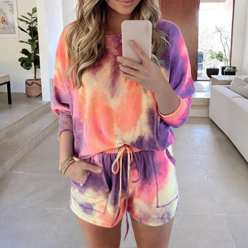 CYSINCOS Tie Dye Print Women Clothing Set Two Piece Long Sleeve Blouses Shorts Ladies Outfit Fashion Casual Female Clothes Set