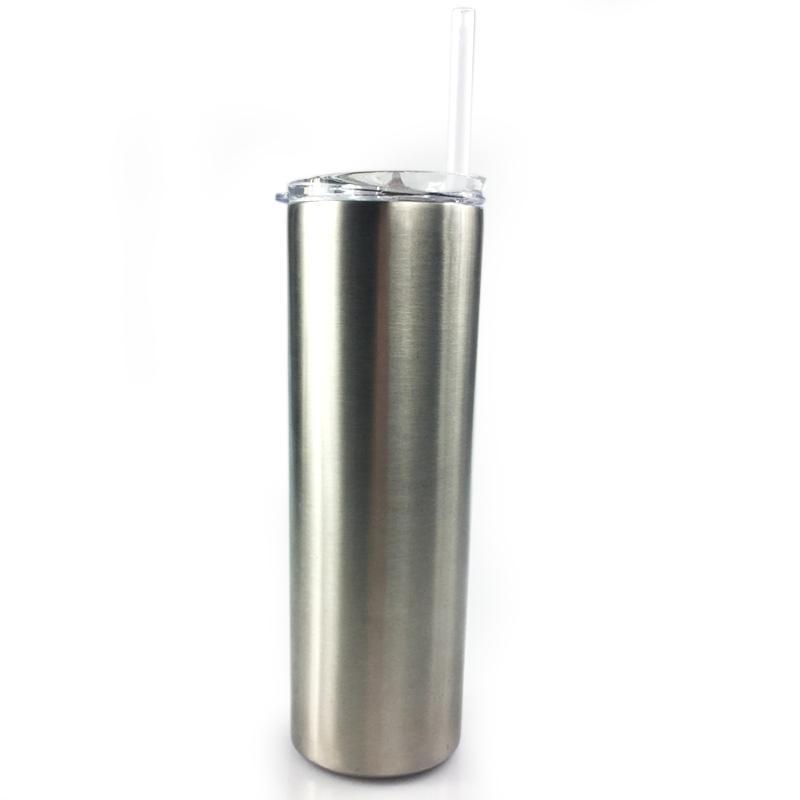 30 OZ acero inoxidable flaco del vaso recto tazas de las tazas con paja y tapa para el vacío de la cerveza del té Café de doble pared con aislamiento Botellas