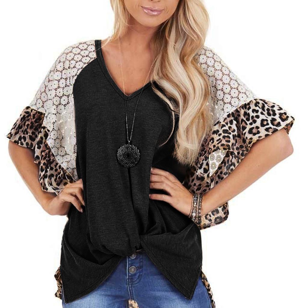 Verano 2020 nuevo de la manera leopardo raglán de la manga de encaje irregular torcedura camiseta femenina