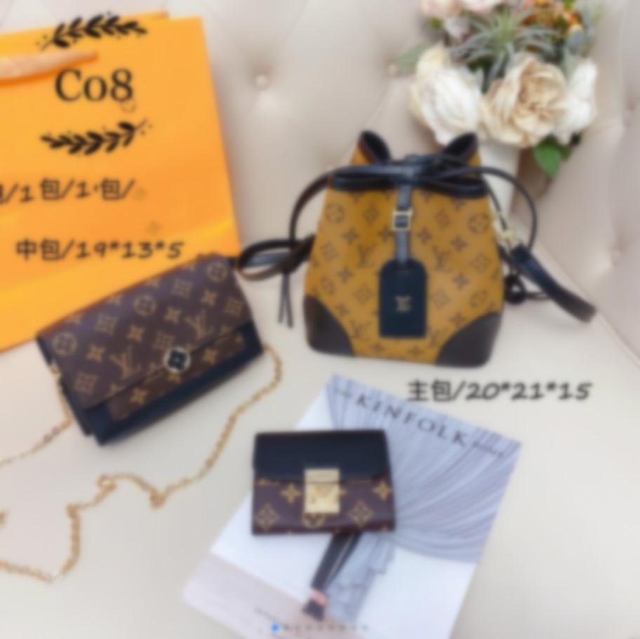 famous Designer Womens Handbags Flower Ladies Casual Tote Designer Shoulder Bags Female Three-piece set Purse 2020 Luxury Handbags Purses 07