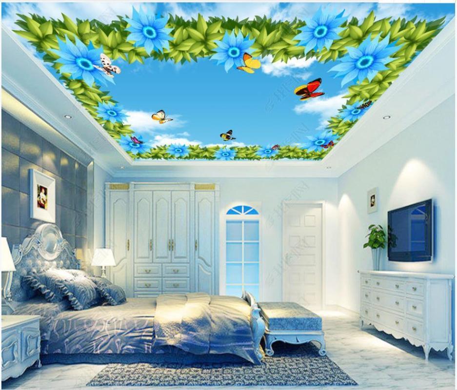 Пользовательские потолок обои 3d потолочных росписей обои Фэнтези голубое небо и белые облака Подсолнечное бабочки фреска фрески