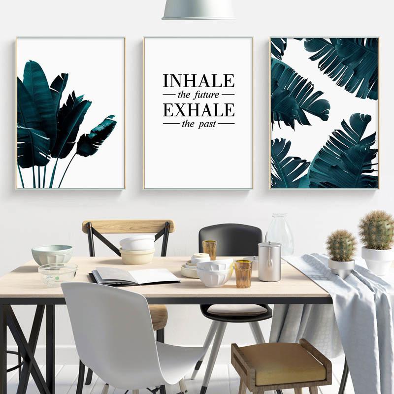 Yeşil Bitki Yaprakları Monstera Poster Duvar Sanatı Pozitif Tuval Salon Minimalist Ev Dekorasyonu için resmi Boyama alıntı yazdır