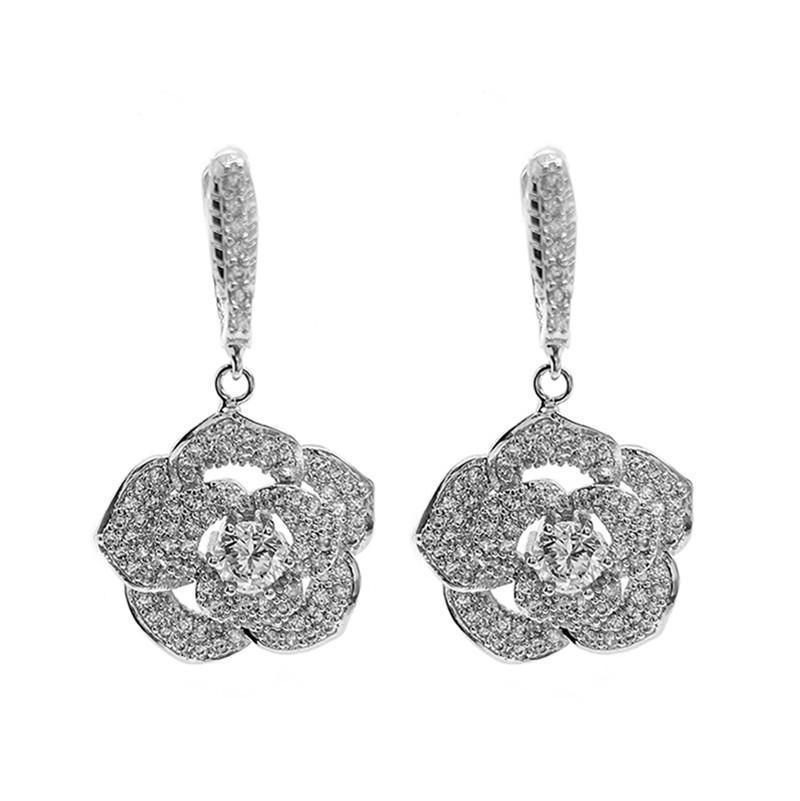 Gioielli Camellia orecchini per le donne di marca diamante pieno amore romantico regalo degli orecchini del fiore 925 Needle Rose