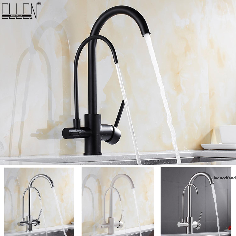 Cucina rubinetti in ottone massiccio filtro della gru per la cucina acqua purificata rubinetto Tre modi Lavello Miscelatore 3 vie rubinetto della cucina ELM134 T200424