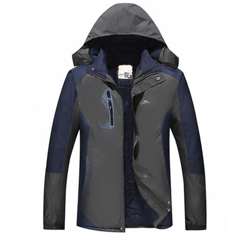 Весна Осень вскользь Мужская Плюс Размер Hoodie водонепроницаемый Hoodie Hat Съемные дышащий Спорт Открытый Coat Мужской Outwear