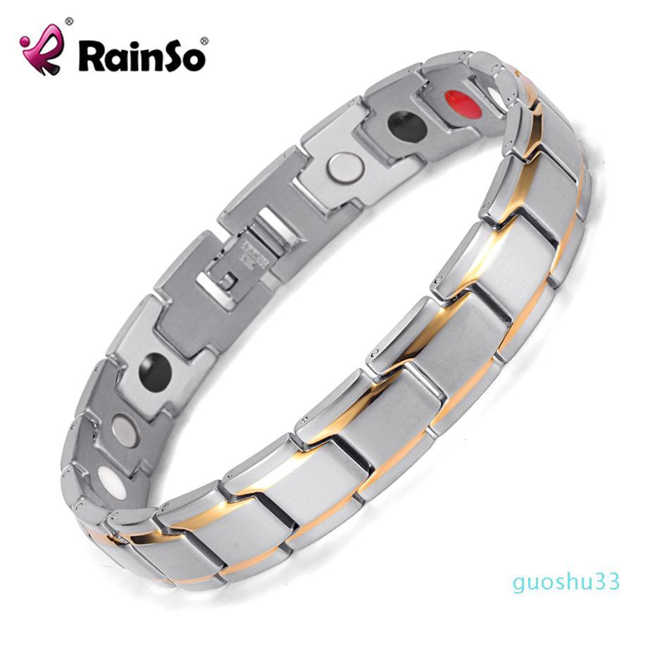 luxury- Rainso Dropshipping Stainless Steel Bio Energy Bracelet Fashion Health Fir Bangle Magnetic Jewelry Bracelets Hologram Wristband